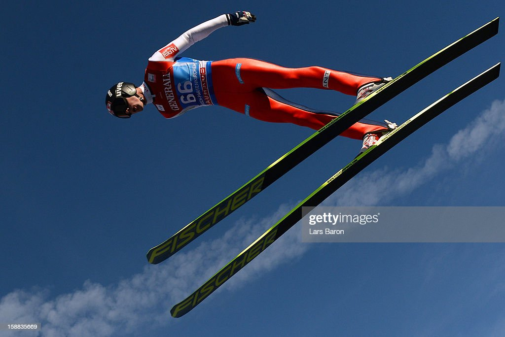 Anders Bardal of Norway competes during the trail round for the FIS Ski Jumping World Cup event at the 61st Four Hills ski jumping tournament at Olympiaschanze on December 31, 2012 in Garmisch-Partenkirchen, Germany.