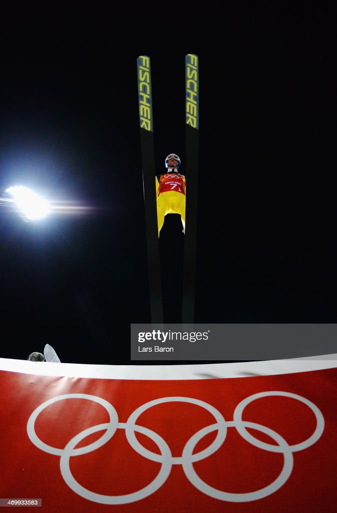 <a gi-track='captionPersonalityLinkClicked' href=/galleries/search?phrase=Anders+Bardal&family=editorial&specificpeople=2146620 ng-click='$event.stopPropagation()'>Anders Bardal</a> of Norway jumps during the Men's Team Ski Jumping trial on day 10 of the Sochi 2014 Winter Olympics at the RusSki Gorki Ski Jumping Center on February 17, 2014 in Sochi, Russia.