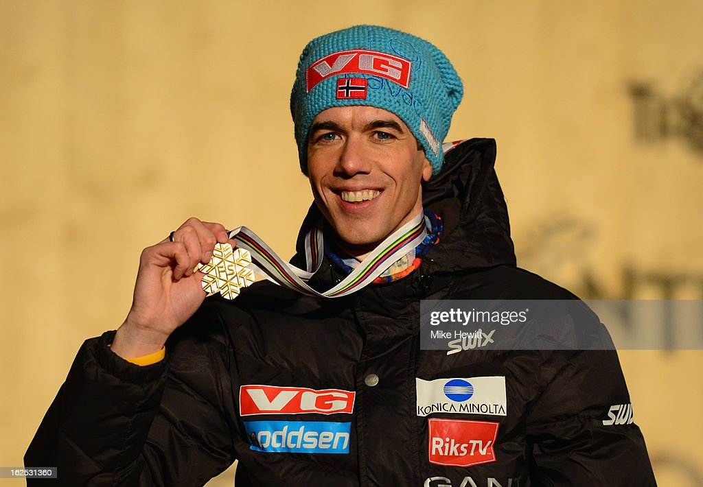 <a gi-track='captionPersonalityLinkClicked' href=/galleries/search?phrase=Anders+Bardal&family=editorial&specificpeople=2146620 ng-click='$event.stopPropagation()'>Anders Bardal</a> of Norway poses with his Gold medal at the medal ceremony for the Men's Ski Jumping HS106 at the FIS Nordic World Ski Championships on February 24, 2013 in Val di Fiemme, Italy.