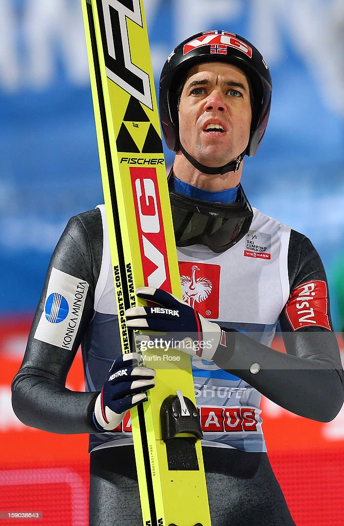 <a gi-track='captionPersonalityLinkClicked' href=/galleries/search?phrase=Anders+Bardal&family=editorial&specificpeople=2146620 ng-click='$event.stopPropagation()'>Anders Bardal</a> of Norway reacts during the final round of the FIS Ski Jumping World Cup event at the 61st Four Hills ski jumping tournament at Paul-Ausserleitner-Schanzeon January 6, 2013 in Bischofshofen, Austria.