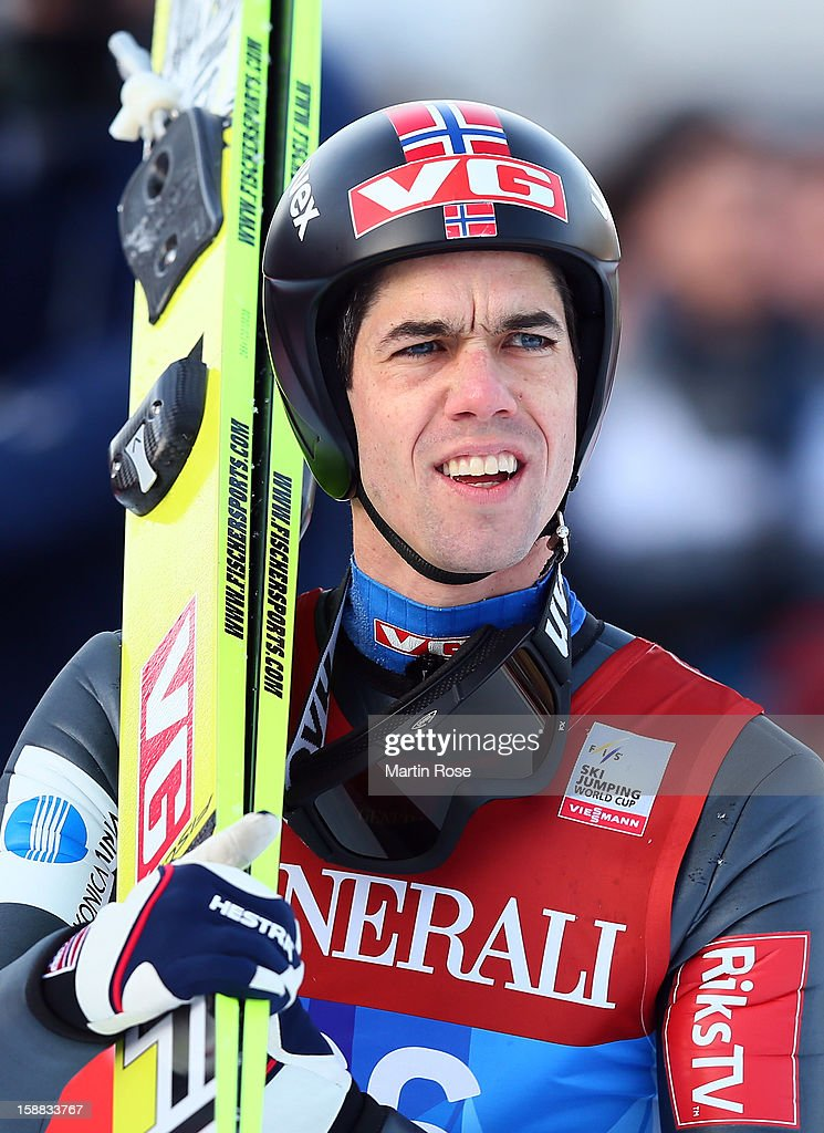 Anders Bardal of Norway reacts during the qualification round for the FIS Ski Jumping World Cup event of the 61st Four Hills ski jumping tournament at Olympiaschanze on December 31, 2012 in Garmisch-Partenkirchen, Germany.