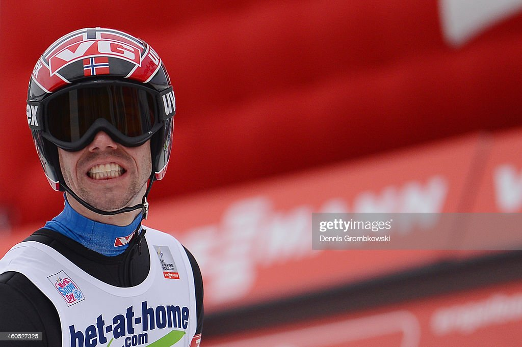 <a gi-track='captionPersonalityLinkClicked' href=/galleries/search?phrase=Anders+Bardal&family=editorial&specificpeople=2146620 ng-click='$event.stopPropagation()'>Anders Bardal</a> of Norway reacts on day 2 of the Four Hills Tournament event at Bergisel on January 4, 2014 in Innsbruck, Austria.