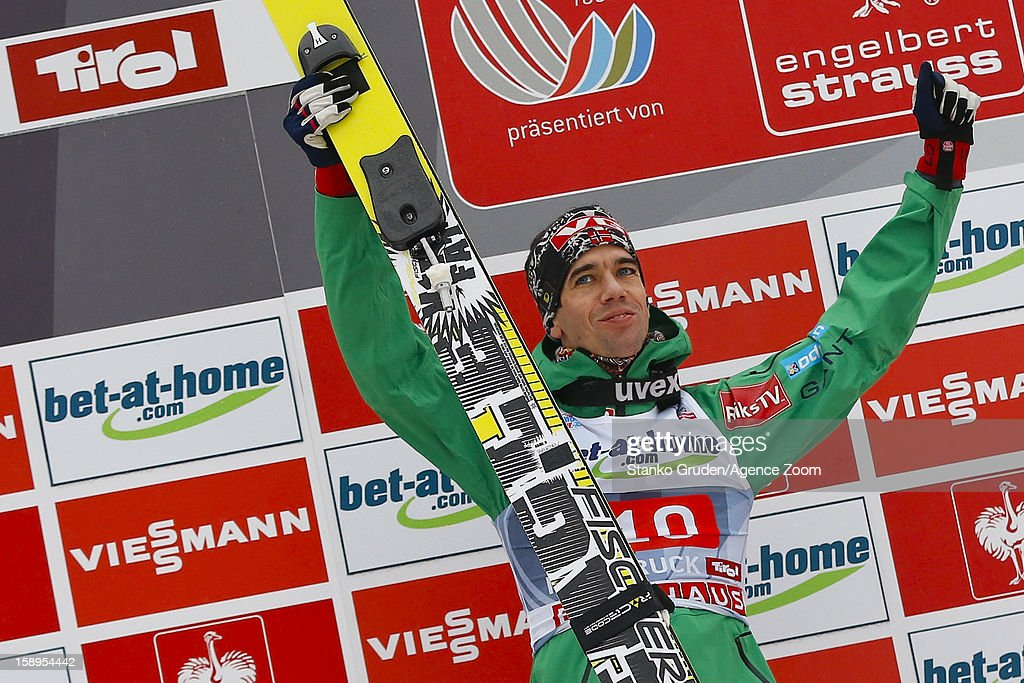 <a gi-track='captionPersonalityLinkClicked' href=/galleries/search?phrase=Anders+Bardal&family=editorial&specificpeople=2146620 ng-click='$event.stopPropagation()'>Anders Bardal</a> of Norway takes 3rd place during the FIS Ski Jumping World Cup Vierschanzentournee (Four Hills Tournament) on January 04, 2013 in Innsbruck, Austria.