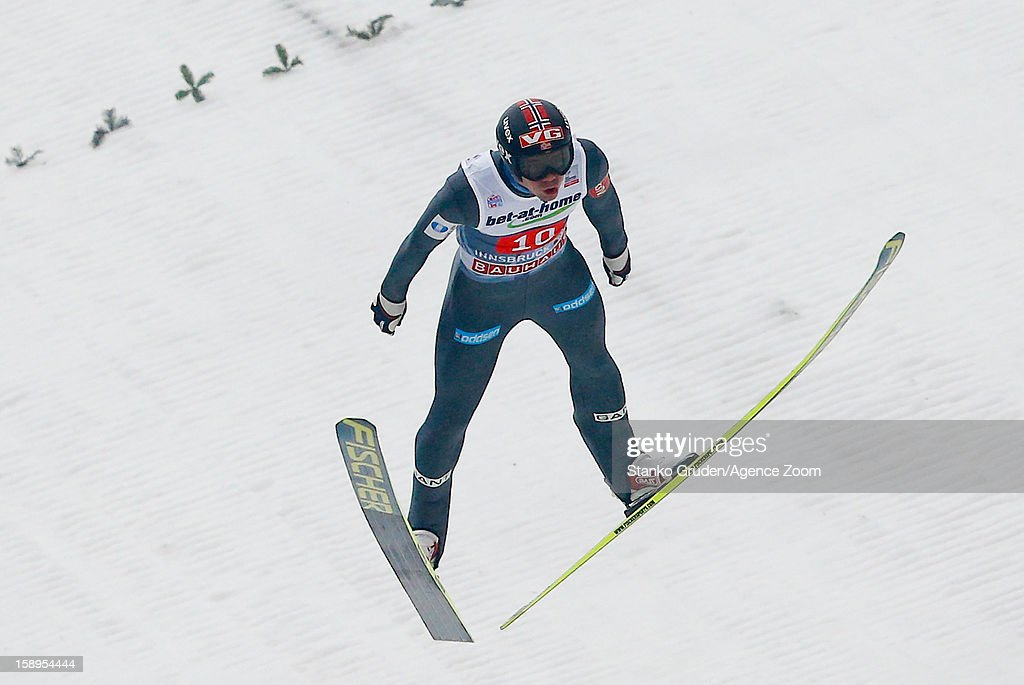 Anders Bardal of Norway takes 3rd place during the FIS Ski Jumping World Cup Vierschanzentournee (Four Hills Tournament) on January 04, 2013 in Innsbruck, Austria.