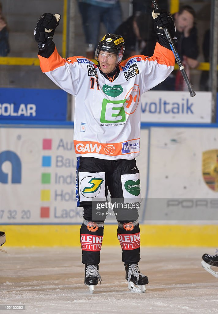 <a gi-track='captionPersonalityLinkClicked' href=/galleries/search?phrase=Anders+Bastiansen&family=editorial&specificpeople=2487581 ng-click='$event.stopPropagation()'>Anders Bastiansen</a> of Graz 99ers celebrates during the action shot on august 17, 2014 in Landshut, Germany.