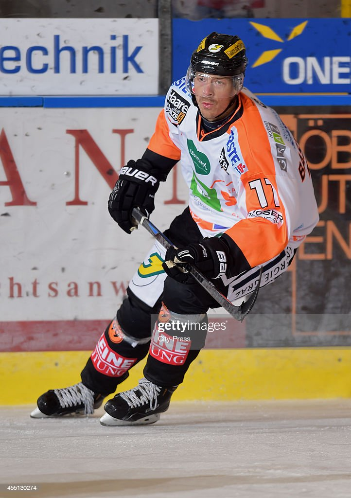 <a gi-track='captionPersonalityLinkClicked' href=/galleries/search?phrase=Anders+Bastiansen&family=editorial&specificpeople=2487581 ng-click='$event.stopPropagation()'>Anders Bastiansen</a> of Graz 99ers during the action shot on august 17, 2014 in Landshut, Germany.