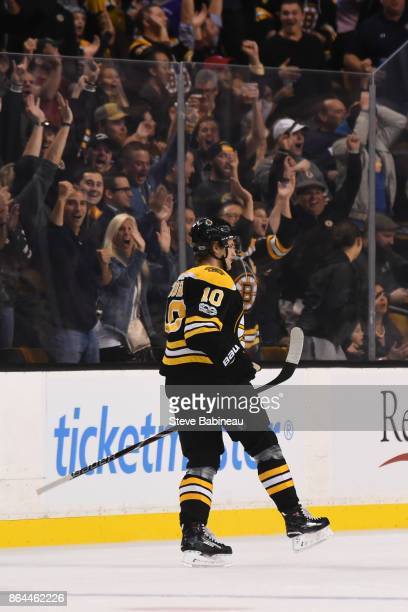 Anders Bjork of the Boston Bruins celebrates his second first period goal against the Vancouver Canucks at the TD Garden on October 19 2017 in Boston...