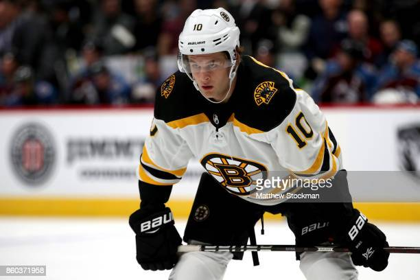 Anders Bjork of the Boston Bruins plays the Colorado Avalanche at the Pepsi Center on October 11 2017 in Denver Colorado