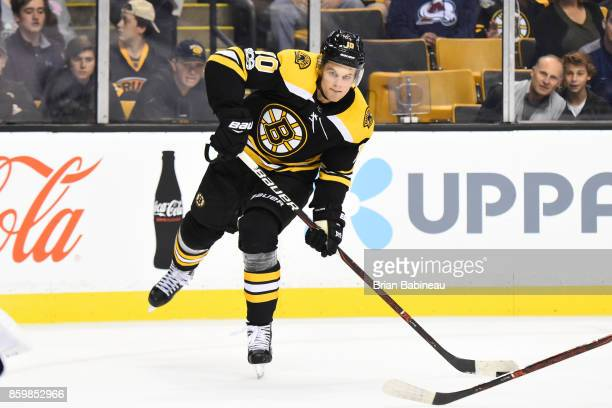 Anders Bjork of the Boston Bruins shoots the puck against the Colorado Avalanche at the TD Garden on October 9 2017 in Boston Massachusetts