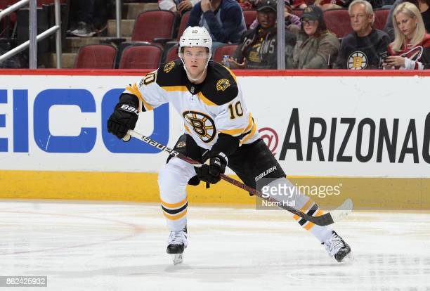 Anders Bjork of the Boston Bruins skates up ice against the Arizona Coyotes at Gila River Arena on October 14 2017 in Glendale Arizona