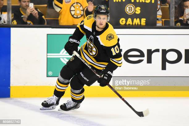 Anders Bjork of the Boston Bruins warms up before the game against the Colorado Avalanche at the TD Garden on October 9 2017 in Boston Massachusetts