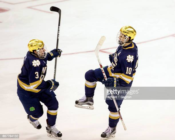 Anders Bjork of the Notre Dame Fighting Irish celebrates his goal against the Minnesota Golden Gophers with his teammate Jordan Gross during game two...