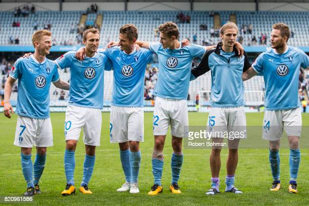 Anders Christiansen and Magnus Wolf Eikrem and Markus Rosenberg and Mattias Svanberg and Pavel Cibicki Lasse Nielsen of Malmo FF celebrates after the...