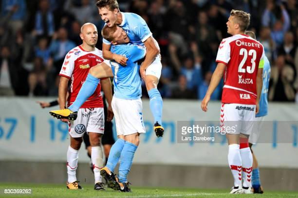 Anders Christiansen and Mattias Svanberg of Malmo FF celebrate Anders Christiansen 60 goal during the Allsvenskan match between Malmo FF and Kalmar...