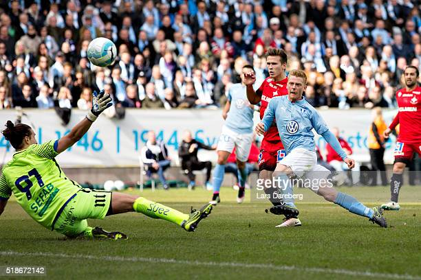 Anders Christiansen of Malmo FF scores their first goal during the Allsvenskan match between Malmo FF v IFK Norrkoping at Swedbank Stadion on April 2...