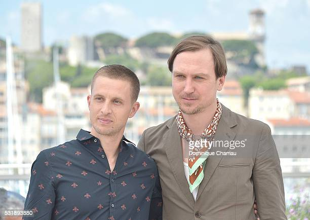 Anders Danielsen Lie and Lars Eidinger attend the 'Personal Shopper' Photocall during the annual 69th Cannes Film Festival at Palais des Festivals on...