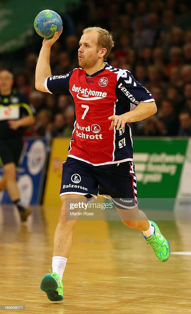 Anders Eggert of Flensburg in action during the DKB Handball Bundesliga match between SG Flensburg-Handewitt and TV Grosswallstadt at Flens Arena on March 3, 2013 in Flensburg, Germany.