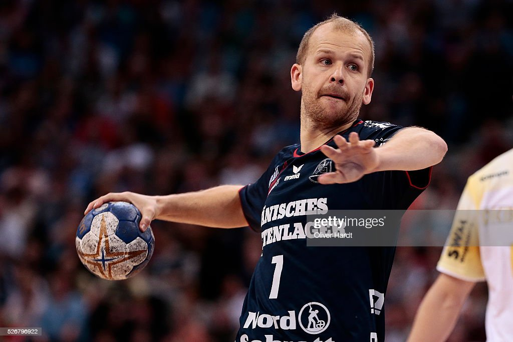 Anders Eggert of Flensburg in action during the DKB REWE Final Four Finale 2016 between SG Flensburg Handewitt and SC Magdeburg at Barclaycard Arena on May 1, 2016 in Hamburg, Germany.