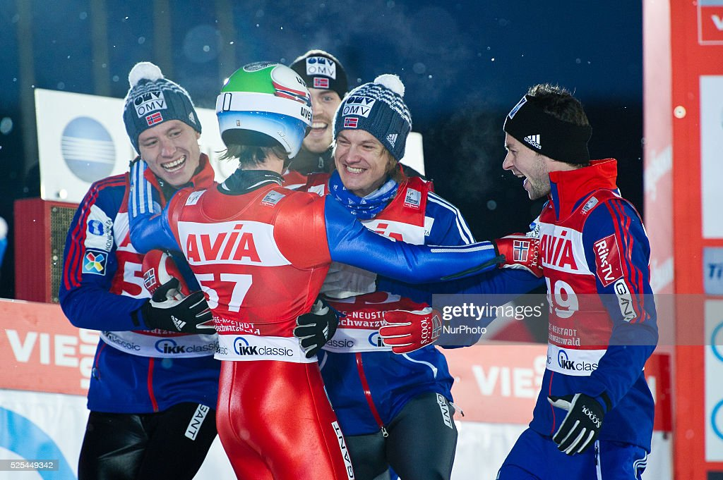 Anders Fannemel in the arms of his team after winning at the Large Hill Individual competition on day two of the FIS Ski Jumping World Cup on...