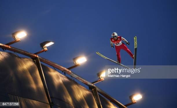 Anders Fannemel of Norway competes during the Men's Ski Jumping HS130 at the FIS Nordic World Ski Championships on March 2 2017 in Lahti Finland