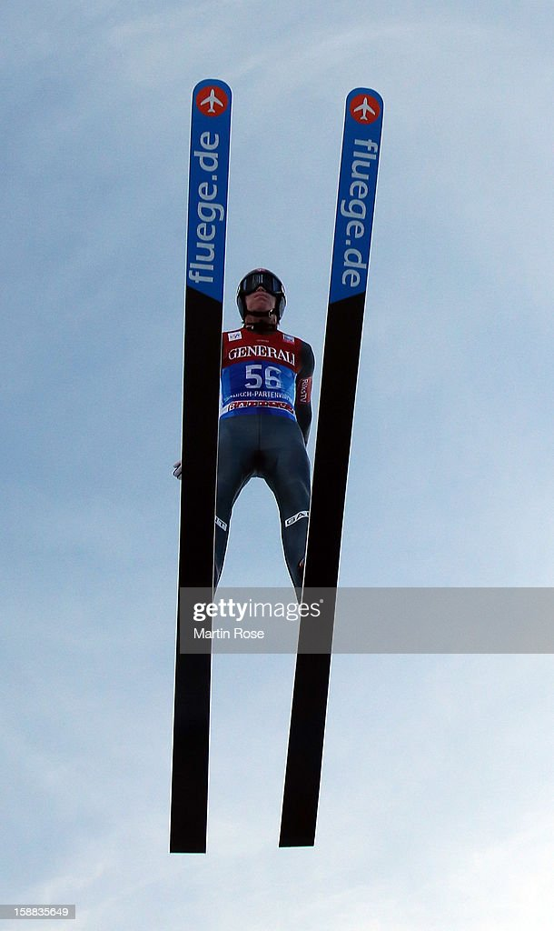 Anders Fannemel of Norway competes during the trial round for the FIS Ski Jumping World Cup event of the 61st Four Hills ski jumping tournament at Olympiaschanze on December 31, 2012 in Garmisch-Partenkirchen, Germany.