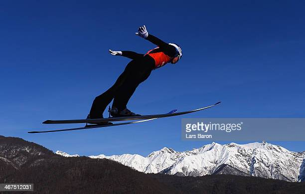 Anders Fannemel of Norway jumps during the Men's Normal Hill Individual training ahead of the Sochi 2014 Winter Olympics at the RusSki Gorki Ski...