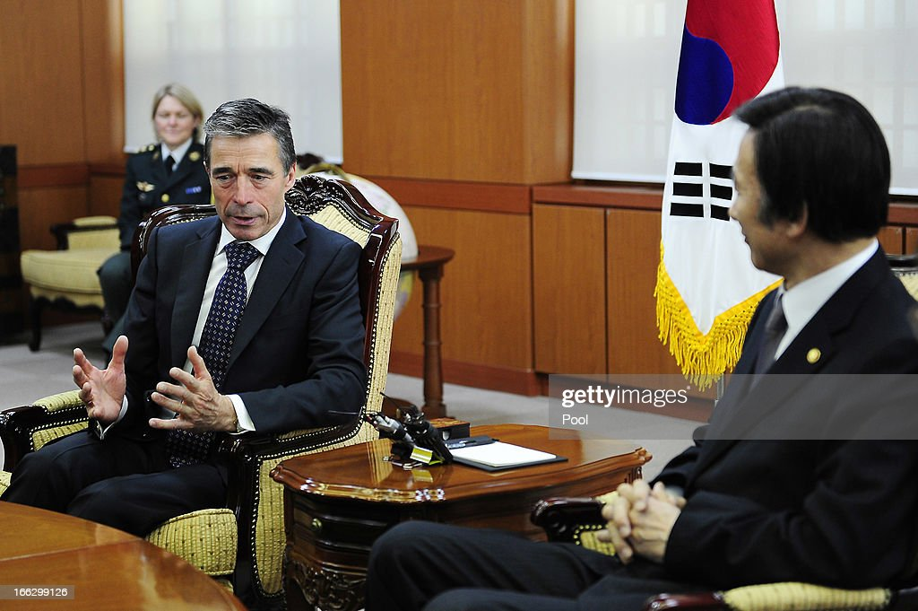 Anders Fogh Rasmussen (L), the NATO Secretary General, talks with South Korean foreign minister Yun Byung-Se (R) during their meeting at the Ministry of Foreign Affairs on April 11, 2013 in Seoul, South Korea. The NATO chief is on a 6 day tour to South Korea and Japan amid the tensions in the Korean Peninsula.