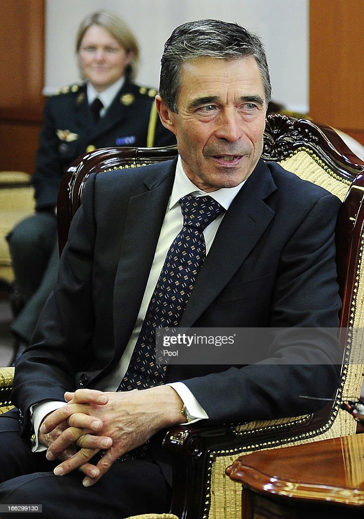 <a gi-track='captionPersonalityLinkClicked' href=/galleries/search?phrase=Anders+Fogh+Rasmussen&family=editorial&specificpeople=549374 ng-click='$event.stopPropagation()'>Anders Fogh Rasmussen</a> (L), the NATO Secretary General, talks with South Korean foreign minister Yun Byung-Se during their meeting at the Ministry of Foreign Affairs on April 11, 2013 in Seoul, South Korea. The NATO chief is on a 6 day tour to South Korea and Japan amid the tensions in the Korean Peninsula.