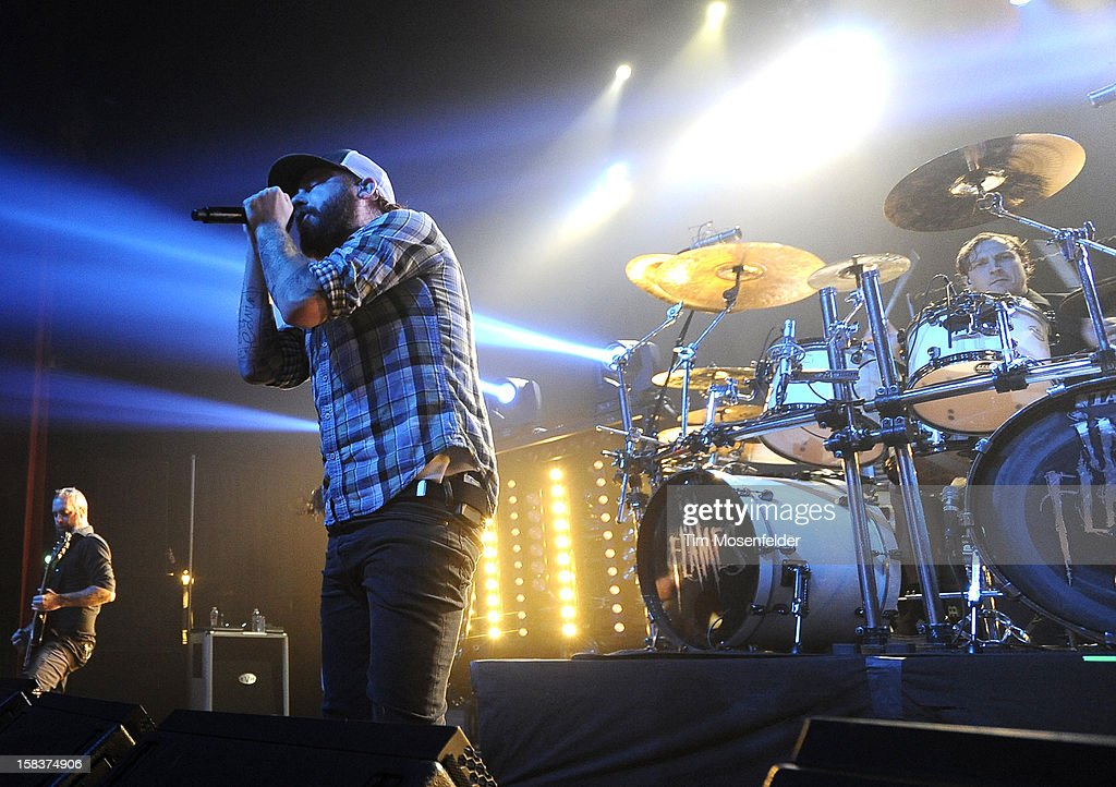 Anders Friden (C) of In Flames performs in support of the bands' 'Sounds of a Playground Fading' release at The Warfield on December 13, 2012 in San Francisco, California.