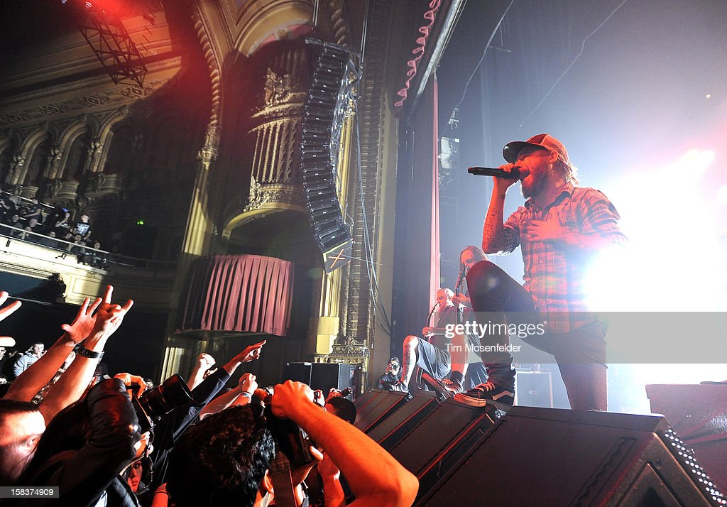 <a gi-track='captionPersonalityLinkClicked' href=/galleries/search?phrase=Anders+Friden&family=editorial&specificpeople=558728 ng-click='$event.stopPropagation()'>Anders Friden</a> of In Flames performs in support of the bands' 'Sounds of a Playground Fading' release at The Warfield on December 13, 2012 in San Francisco, California.