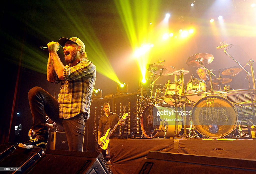 Anders Friden (L) of In Flames performs in support of the bands' 'Sounds of a Playground Fading' release at The Warfield on December 13, 2012 in San Francisco, California.