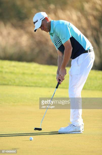 Anders Hansen of Denmark in action during the final round of the European Tour Qualifying School Final Stage at Lumine Golf Club on November 16 2017...