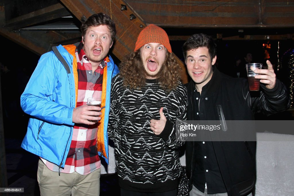 Anders Holm, Blake Anderson and Adam DeVine attend the DirecTV Super Saturday Night at Pier 40 on February 1, 2014 in New York City.