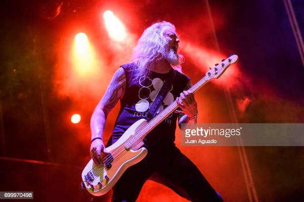 Anders Iwers of Dark Tranquility performs on stage at the Download Festival on June 22 2017 in Madrid Spain