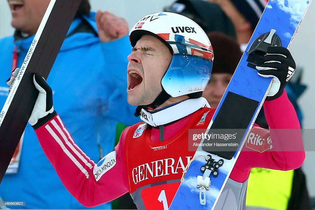 <a gi-track='captionPersonalityLinkClicked' href=/galleries/search?phrase=Anders+Jacobsen+-+Ski+Jumper&family=editorial&specificpeople=12186216 ng-click='$event.stopPropagation()'>Anders Jacobsen</a> of Norway celebrates winning after his final jump during day 4 of the Four Hills Tournament Ski Jumping event at Olympia-Schanze on January 1, 2015 in Garmisch-Partenkirchen, Germany.