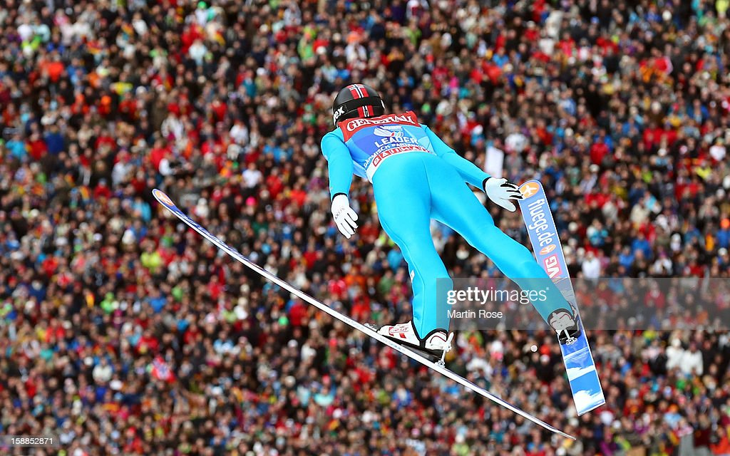 Anders Jacobsen of Norway competes during the final round for the FIS Ski Jumping World Cup event of the 61st Four Hills ski jumping tournament at Olympiaschanze on January 1, 2013 in Garmisch-Partenkirchen, Germany.