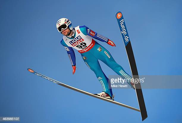 Anders Jacobsen of Norway competes during the Men's HS100 Normal Hill Ski Jumping trial during the FIS Nordic World Ski Championships at the Lugnet...