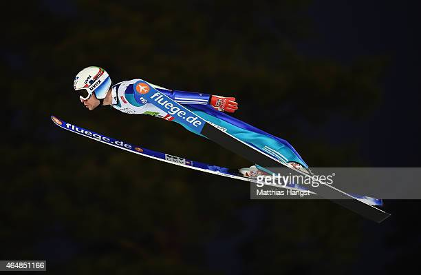 Anders Jacobsen of Norway competes during the Men's Team HS134 Large Hill Ski Jumping during the FIS Nordic World Ski Championships at the Lugnet...