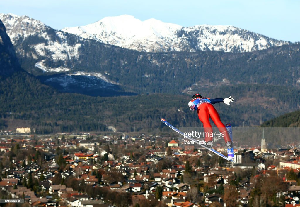 Anders Jacobsen of Norway competes during the trial round for the FIS Ski Jumping World Cup event of the 61st Four Hills ski jumping tournament at Olympiaschanze on December 31, 2012 in Garmisch-Partenkirchen, Germany.