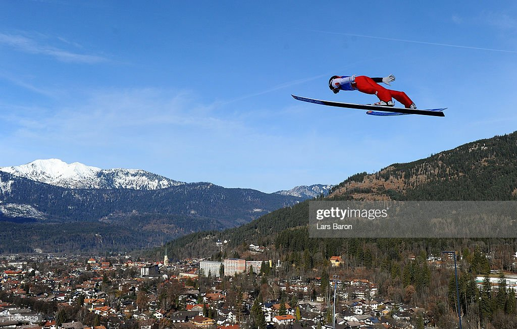 Anders Jacobsen of Norway competes during the trial round for the FIS Ski Jumping World Cup event at the 61st Four Hills ski jumping tournament at Olympiaschanze on December 31, 2012 in Garmisch-Partenkirchen, Germany.