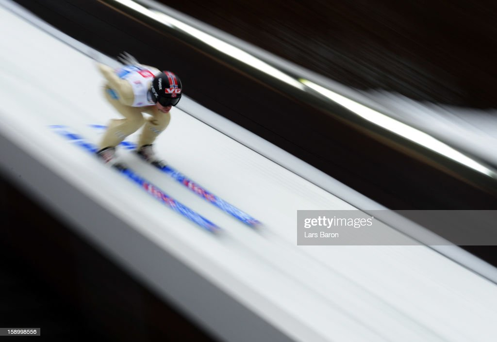 Anders Jacobsen of Norway competes during the trial round for the FIS Ski Jumping World Cup event of the 61st Four Hills ski jumping tournament at...