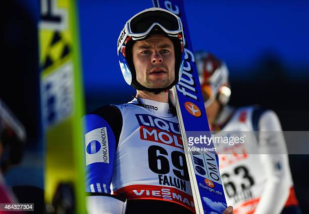 Anders Jacobsen of Norway looks on during the Men's Large Hill training during the FIS Nordic World Ski Championships at the Lugnet venue on February...