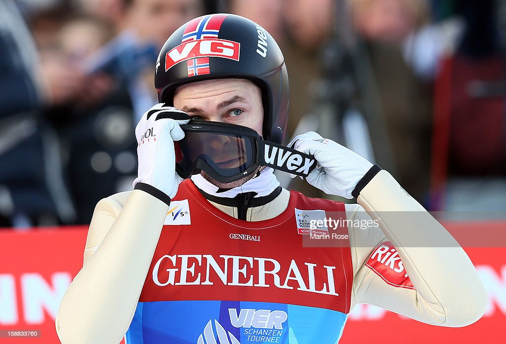 Anders Jacobsen of Norway reacts during the qualification round for the FIS Ski Jumping World Cup event of the 61st Four Hills ski jumping tournament at Olympiaschanze on December 31, 2012 in Garmisch-Partenkirchen, Germany.