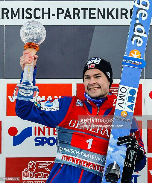 Anders Jacobsen of Norway takes 1st place during the FIS Ski Jumping World Cup Vierschanzentournee on January 01 2015 in GarmischPartenkirchen Germany