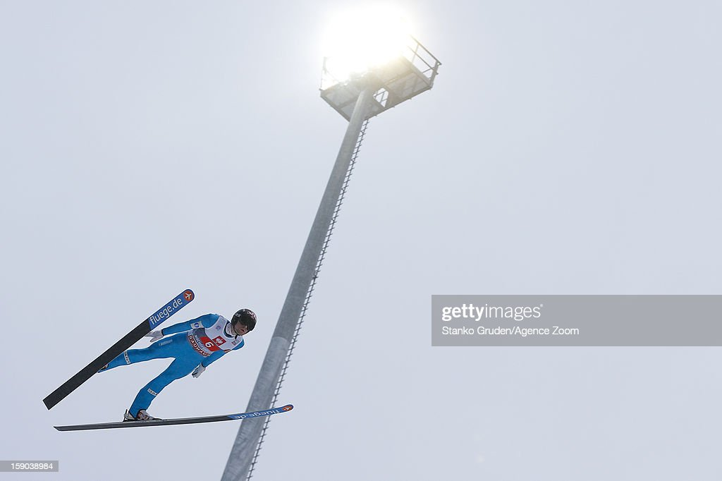 Anders Jacobsen of Norway taks 2nd place during the FIS Ski Jumping World Cup Vierschanzentournee (Four Hills Tournament) on January 06, 2013 in Bischofshofen, Austria.