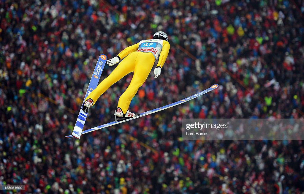 Anders Johnson of USA competes during the first round for the FIS Ski Jumping World Cup event of the 61st Four Hills ski jumping tournament at Bergisel-Stadion on January 4, 2013 in Innsbruck, Austria.