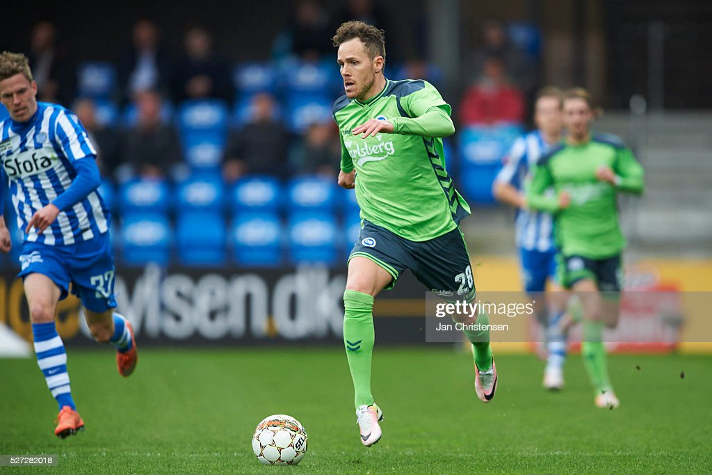Anders K. Jacobsen of OB Odense controls the ball during the Danish Alka Superliga match between Esbjerg fB and OB Odense at Blue Water Arena on May 02, 2016 in Esbjerg, Denmark.