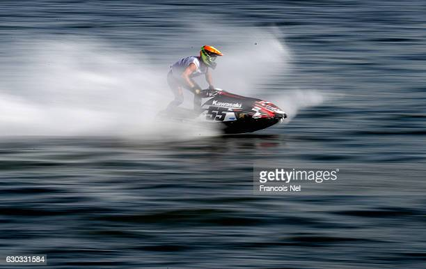 Anders Keller of Sweden practice ahead of the Ski Division GP1 during the Aquabike Class Pro Circuit World Championships Grand Prix of Sharjah at...