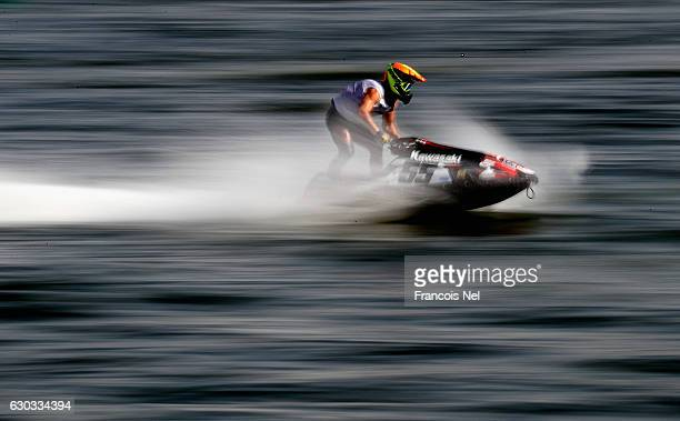 Anders Keller of Sweden practice during the Aquabike Class Pro Circuit World Championships Grand Prix of Sharjah at Khalid Lagoon on December 21 2016...
