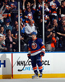 Anders Lee of the New York Islanders celebrates his powerplay goal at 521 of the first period against the Colorado Avalanche at the Nassau Veterans...